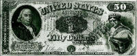 A fake $50 bill by counterfeiter Emanuel Ninger. This bill was seized in 1896.