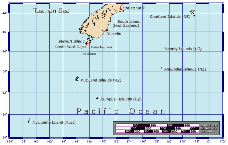 Map of the Auckland Islands - Nazi gold